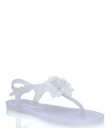 Силиконовые сандалии MENGHI 820 с цветком перламутровые
