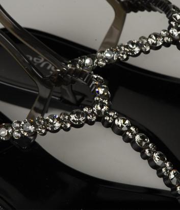 Силиконовые сандалии MENGHI 701 с кристаллами черные