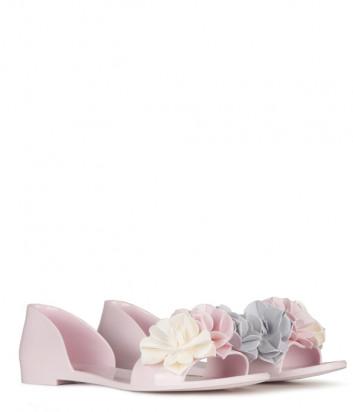 Розовые шлепанцы Menghi 908 декорированные цветами