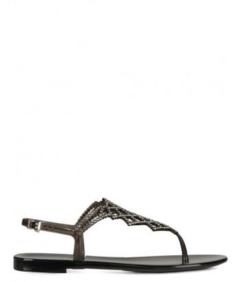 Силиконовые сандалии MENGHI 713 декорированные кристаллами черные