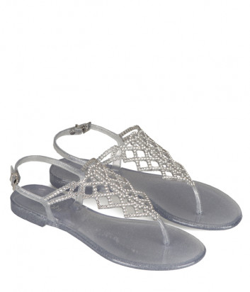 Силиконовые сандалии MENGHI 713 декорированные кристаллами серебристые
