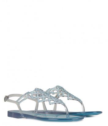 Силиконовые сандалии MENGHI 713 декорированные кристаллами голубые