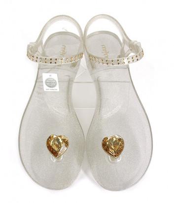 Силиконовые сандалии MENGHI 827 декорированные кристаллами золотистые