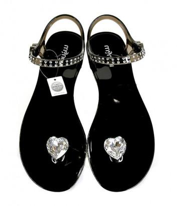 Силиконовые сандалии MENGHI 827 декорированные кристаллами черные