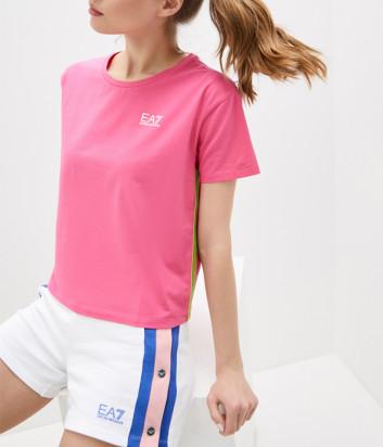 Розовая футболка EA7 EMPORIO ARMANI 3KTT21 TJ29Z с лампасами по бокам