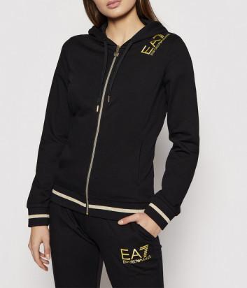 Спортивный костюм EA7 EMPORIO ARMANI 3KTV52 TJ31Z черный с золотым логотипом