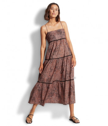 Длинное платье SEAFOLLY 54266-DR коричневое с принтом