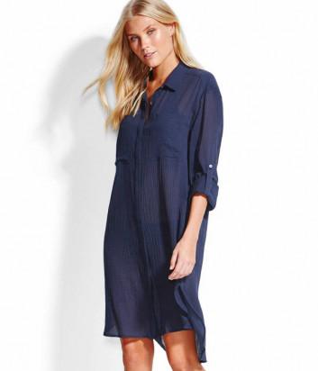 Длинная рубашка Seafolly 53108-CU из хлопка синяя