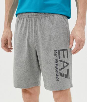 Спортивные шорты EA7 EMPORIO ARMANI 3KPS80 PJ7BZ серые с логотипом