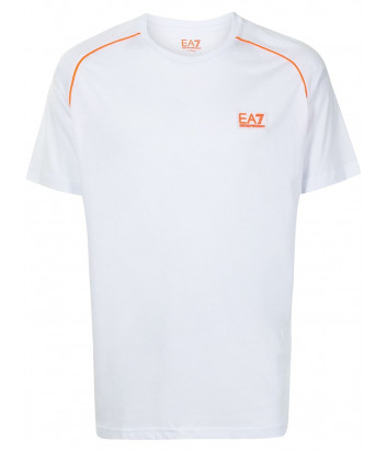 Футболка EA7 EMPORIO ARMANI 3KPT04 PJM9Z белая с оранжевым лого