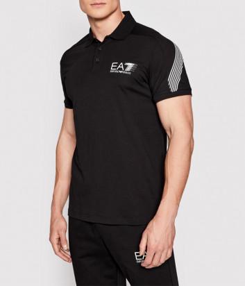 Мужское поло EA7 EMPORIO ARMANI 3KPF21 PJ02Z черное с логотипом