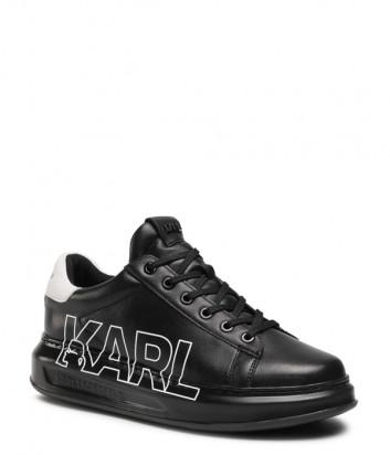 Кожаные кроссовки KARL LAGERFELD KL52523 черные с логотипом