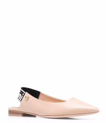 Кожаные туфли BALDININI 166200 бежевые с брендированной вставкой