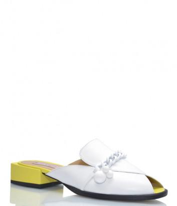 Кожаные мюли HELENA SORETTI 510-2 белые на желтом каблуке