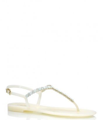 Силиконовые сандалии MENGHI 701 молочные с кристаллами
