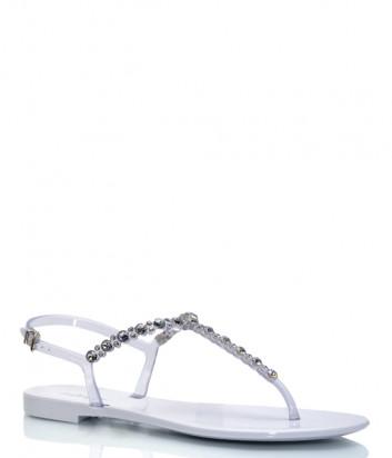 Силиконовые сандалии MENGHI 701 серые с кристаллами