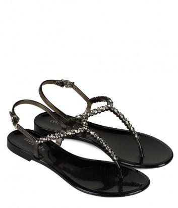 Силиконовые сандалии MENGHI 701 черные с кристаллами