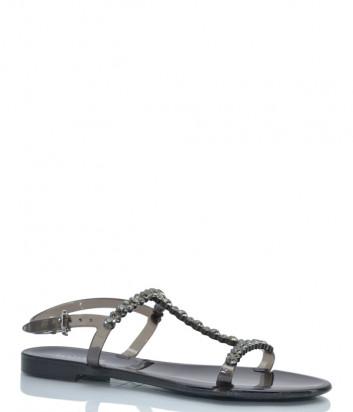 Силиконовые сандалии MENGHI 702 черные с кристаллами
