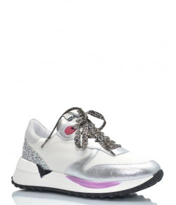 Кожаные кроссовки MELINE 1702 белые с цветными вставками