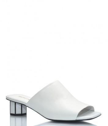 Кожаные мюли BRUNO PREMI 0703 белые на фигурном каблуке