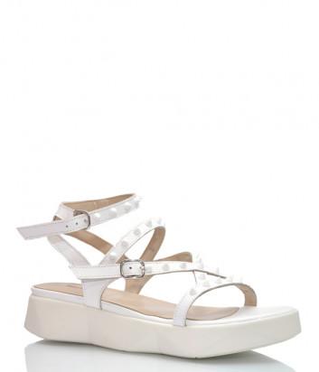 Кожаные сандалии JEANNOT 33121 белые с шипами