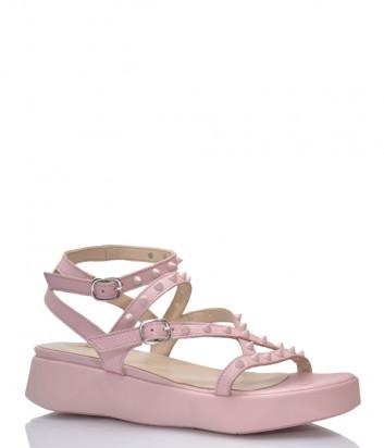 Кожаные сандалии JEANNOT 33121 розовые с шипами