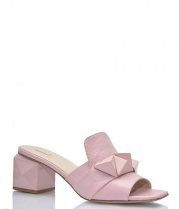 Кожаные мюли JEANNOT 55063 розовые
