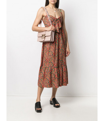 Кожаная сумка PINKO Classic Love Bag Icon Simply 1P221L с декором нежно-розовая