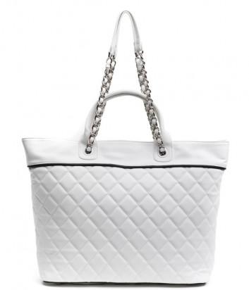 Сумка-шоппер ICE PLAY 7240 6965 стеганная белая с логотипом на дне