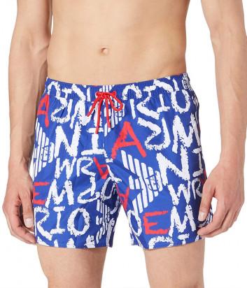 Плавки-шорты EMPORIO ARMANI 211740 1P431 синие с надписями