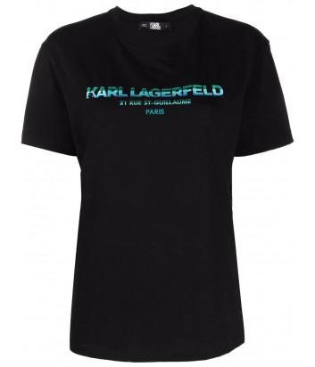 Футболка KARL LAGERFELD 215W1706 черная с логотипом Rue St-Guillaume