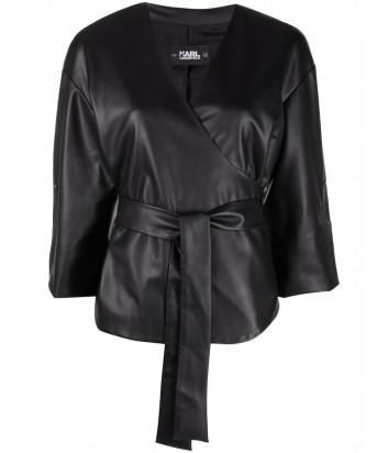 Рубашка на запах KARL LAGERFELD 215W1605 из экокожи черная