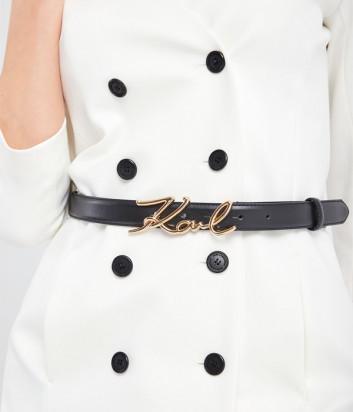 Кожаный ремень KARL LAGERFELD 205W3103 с пряжкой в виде логотипа черный