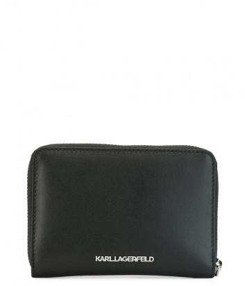 Кожаное портмоне KARL LAGERFELD Ikonik 201W3215 на молнии черное