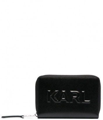Кожаное портмоне KARL LAGERFELD 211W3217 с тисненным логотипом черное