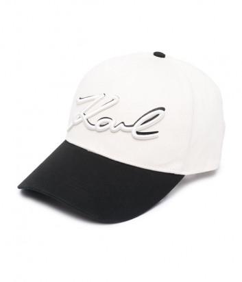 Бейсболка KARL LAGERFELD Signature 211W3408 с вышитым логотипом бело-черная