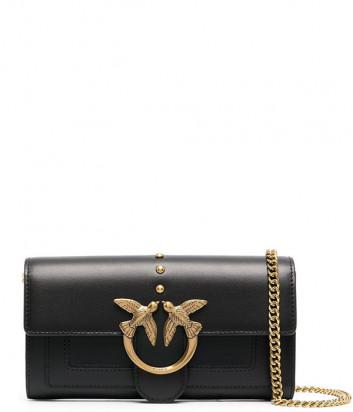 Кожаная сумка-кошелек PINKO Love Wallet Simply 1P221Y на цепочке черная