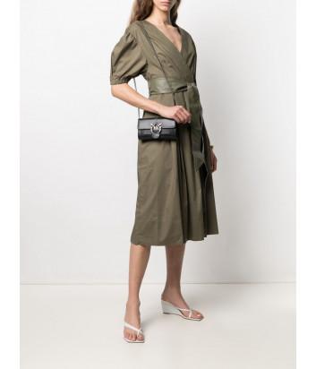Кожаная сумка-кошелек PINKO Love Wallet Simply 1P227U на цепочке черная