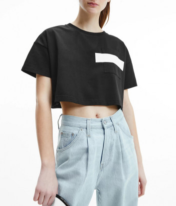 Короткая футболка-топ CALVIN KLEIN Jeans J20J217124 черная с логотипом