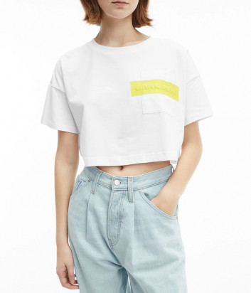 Короткая футболка-топ CALVIN KLEIN Jeans J20J217124 белая с логотипом