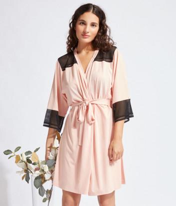 Розовый халат GISELA 31770 с черным кружевом