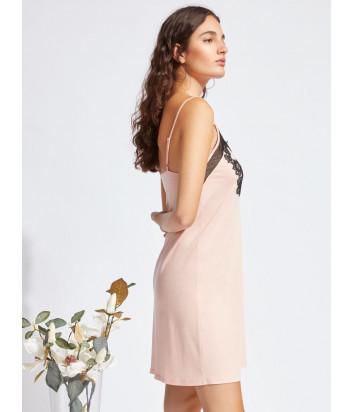 Розовая сорочка GISELA 31769 с черным кружевом