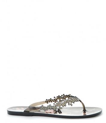 Силиконовые сандалии MENGHI 829 декорированные кристаллами черные