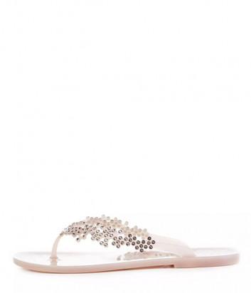Силиконовые сандалии MENGHI 829 декорированные кристаллами розовые