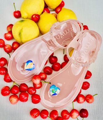 Силиконовые сандалии MENGHI 827e с кристаллом розовые