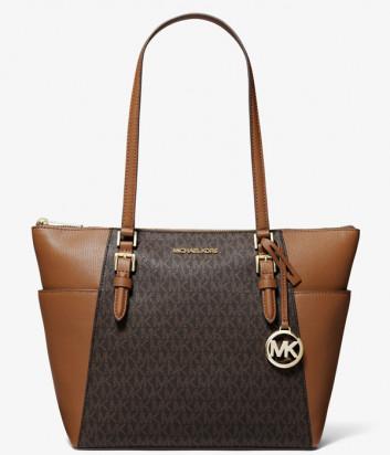 Сумка-шоппер MICHAEL KORS Charlotte Large 35T0GCFT3B коричневая с рыжими вставками