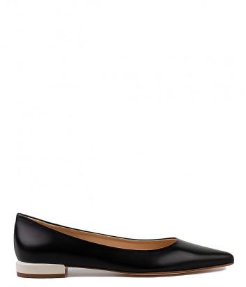 Кожаные туфли FABIO RUSCONI 4996 черные на бежевом каблуке