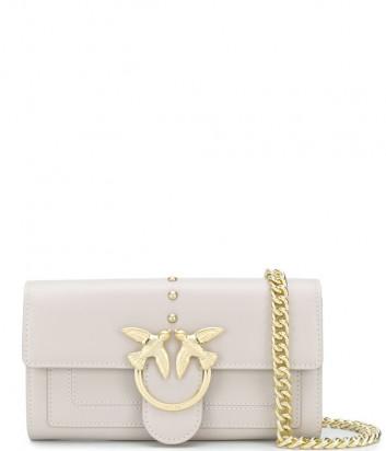 Кожаная сумка-кошелек PINKO Love Wallet Houston 1P21ER на цепочке бежевая