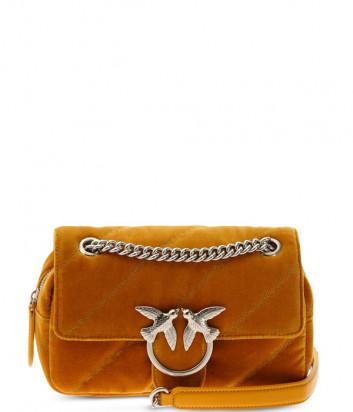 Сумка на цепочке PINKO Mini Love Bag Puff 1P21U4 стеганная желтая