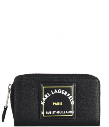 Кожаное портмоне KARL LAGERFELD 215W3233 черное с логотипом